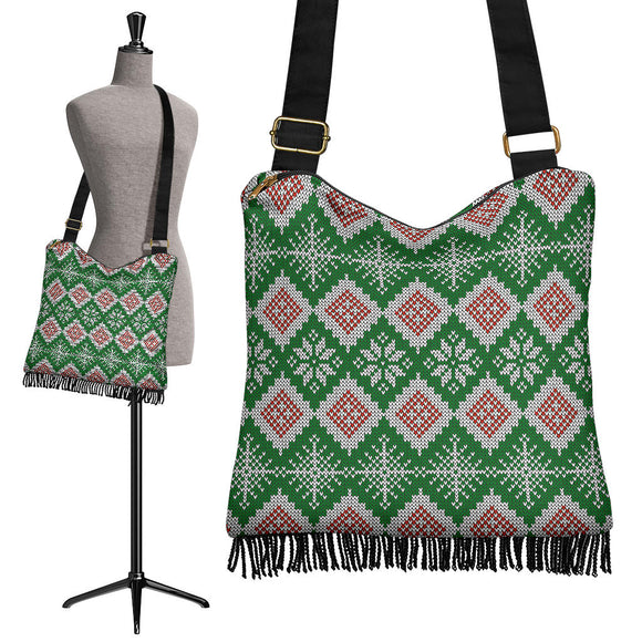 Christmas Lovely Green Good Vibes Only Crossbody Boho Handbag