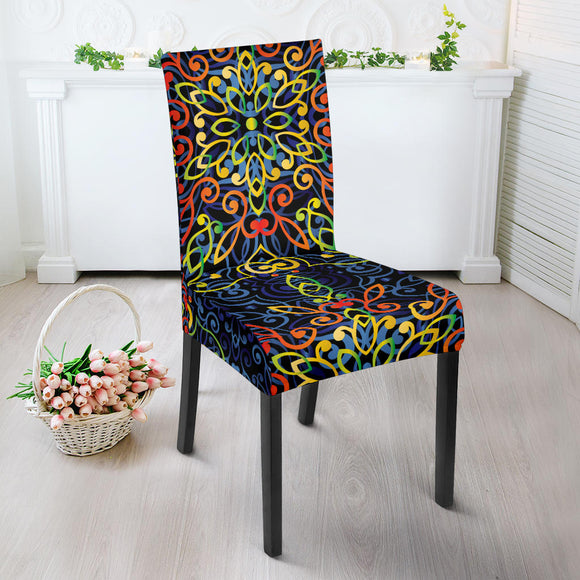 Glowing Rasta Mandala Dining Chair Slip Cover