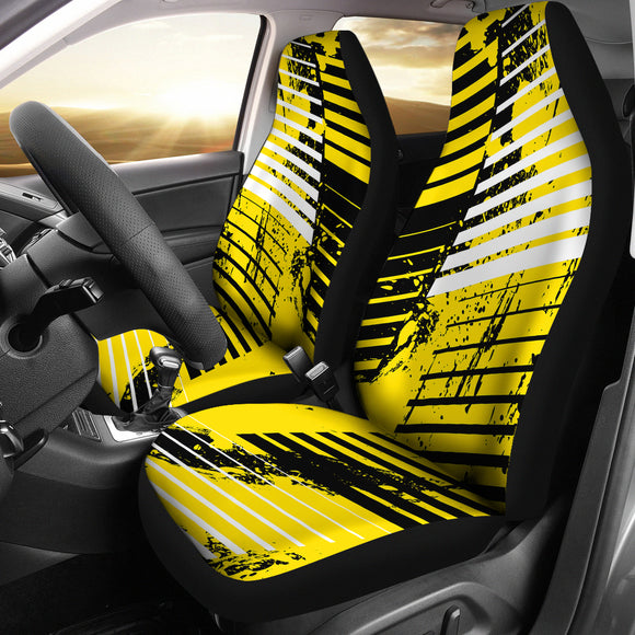 Racing Style Yellow & Black Stripes Vibes Car Seat Covers