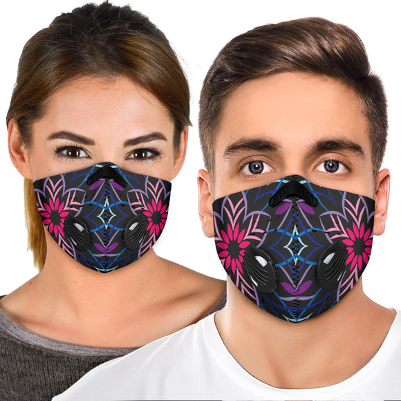 Blue & Pink Flowers Mandala Premium Protection Face Mask