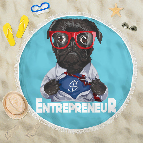Pug Hero Entrepreneur Beach Blanket