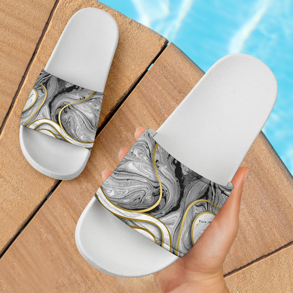 Luxury Grey Marble Design With Gold Stripes Slide Sandals