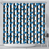 Blue Hearts Shower Curtain