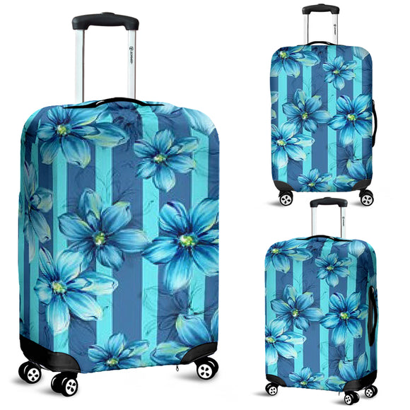 Blue Floral Strips Luggage Cover