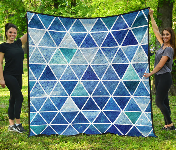 Blue Triangles Premium Quilt