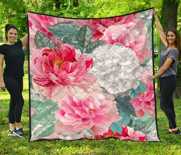 Pink Flowers Power Premium Quilt