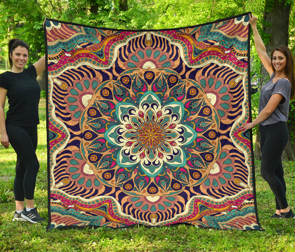 Luxury Colorful Mandala Style Premium Quilt