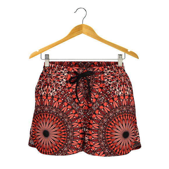 Red Spiritual Mandala Women's Shorts