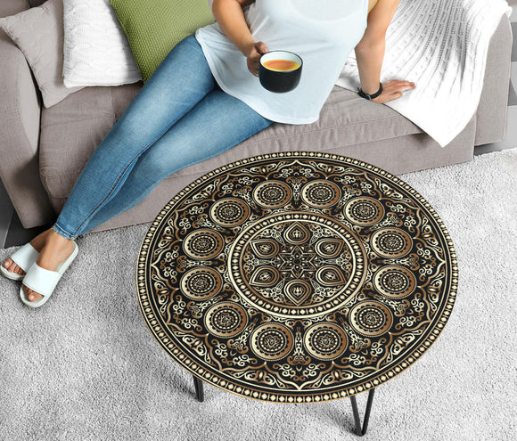 Ornamental Magical Gold Circular Coffee Table