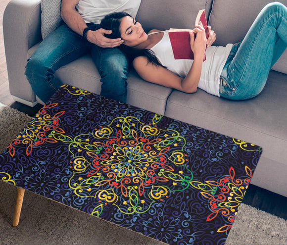 Glowing Rasta Mandala Rectangular Coffee Table