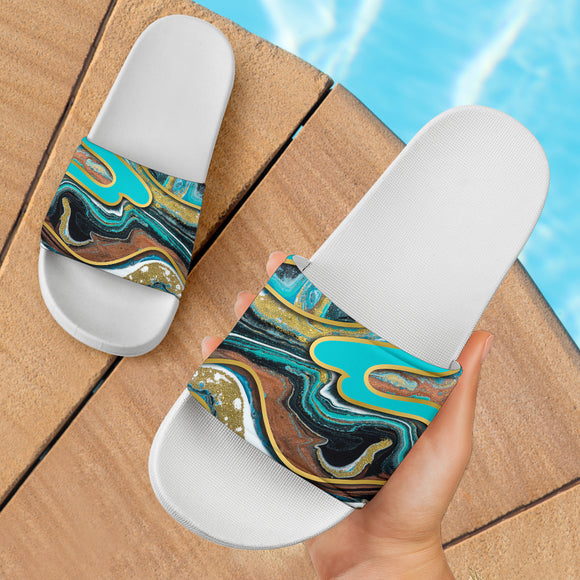 Luxury Light Blue Marble Design With Gold Stripes Slide Sandals