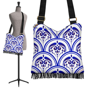 Amazing Traditional White & Blue Ornaments Vibes Two Crossbody Boho Handbag