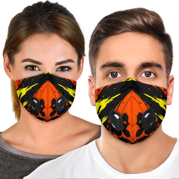 Racing Style Orange & Yellow Design Two Premium Protection Face Mask
