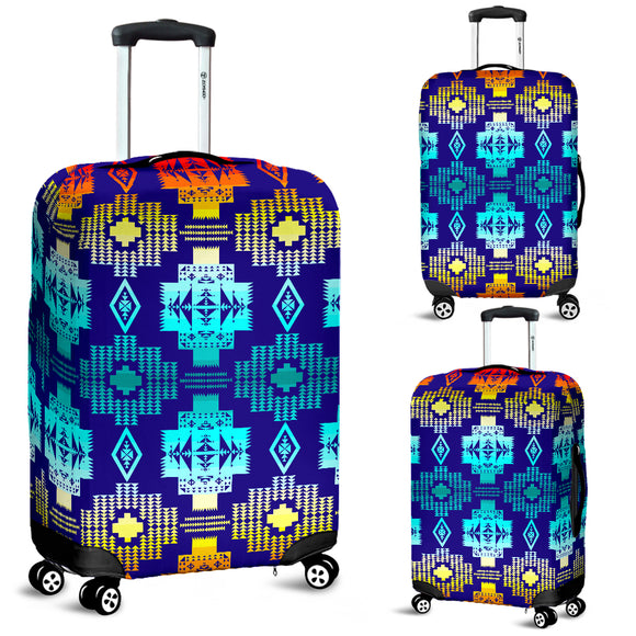 Blue Fire Luggage Cover