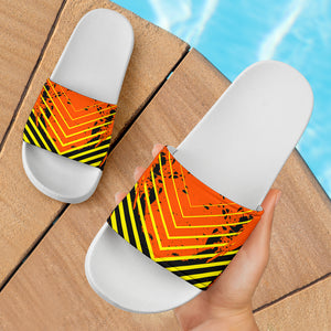 Racing Style Neon Orange & Yellow Stripes Vibes Slide Sandals