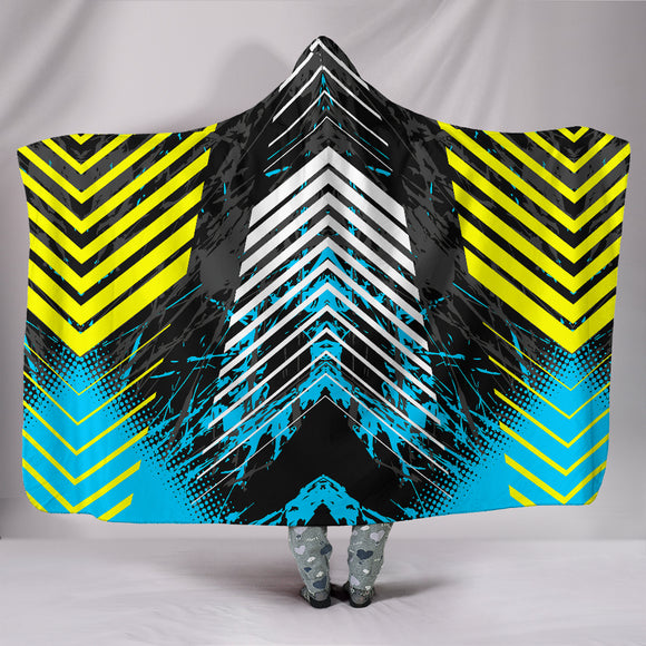 Racing Style Ocean Blue & Yellow Stripes Vibes Hooded Blanket