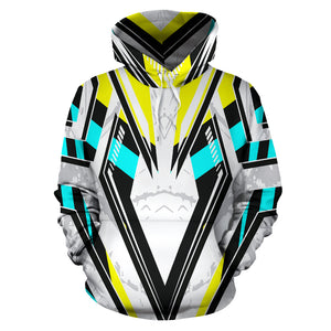 Racing Style Ice White & Pastel Colorful Vibes All Over Hoodie
