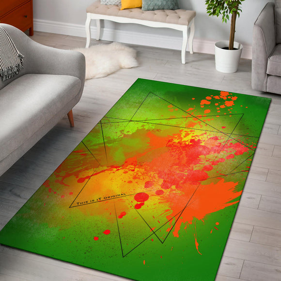 Great Neon Green Fresh Street Art Design Area Rug