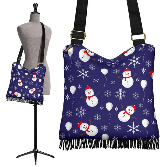 Christmas Blue Good Vibes Only Crossbody Boho Handbag