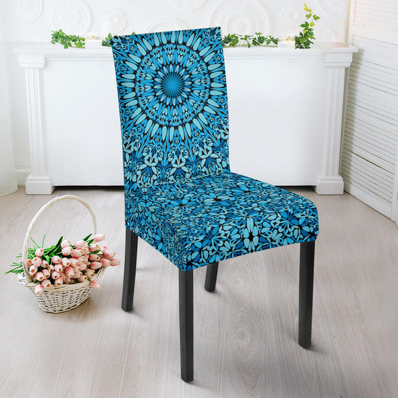Sky Blue Mandala Dining Chair Slip Cover