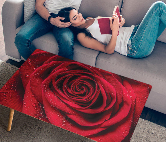 Lovely Red Rose Rectangular Coffee Table