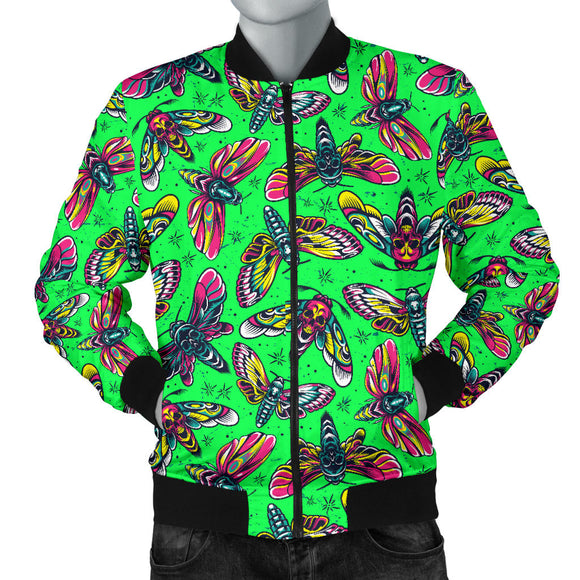 Neon Green With HawkMoth Style Men's Bomber Jacket