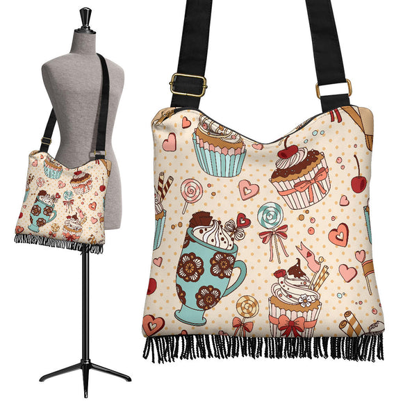 Give Me Dessert To Save The World Crossbody Boho Handbag