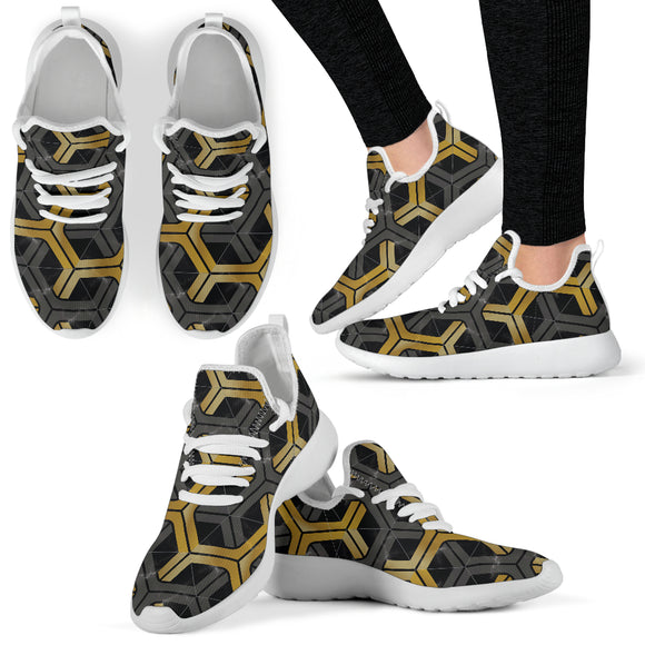 Golden & Grey Hexagon Geometric 2 Mesh Knit Sneakers