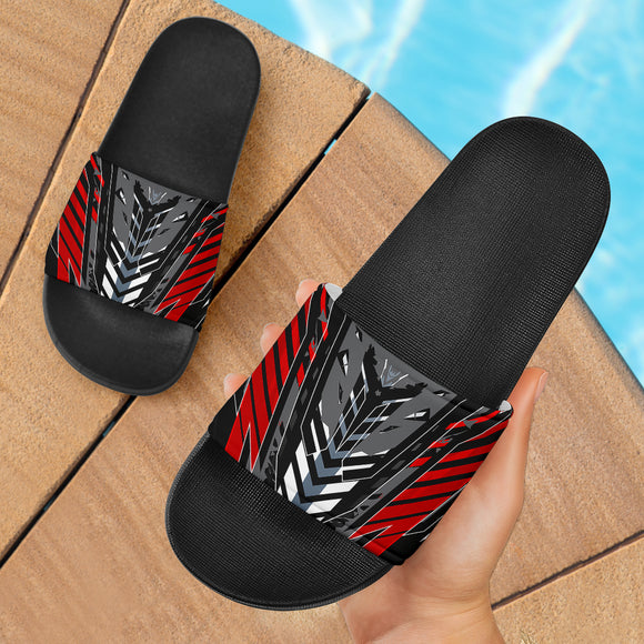 Racing Style Grey & Wild Red Slide Sandals