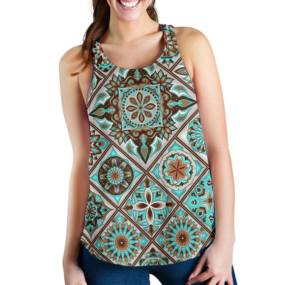 Light Blue Mosaic Mandala Design Women's Racerback Tank