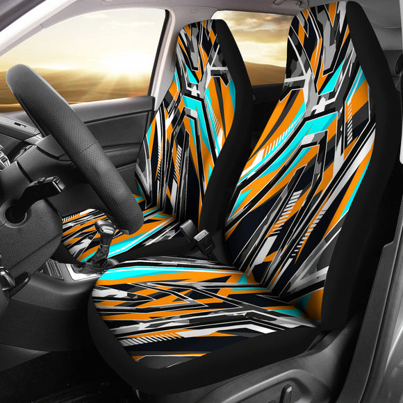 Racing Army Style Wild Orange & Colorful Stripes Vibes Car Seat Covers