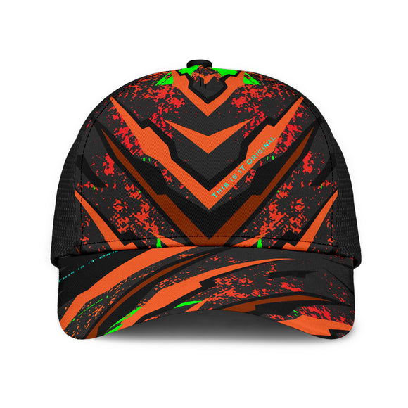 Racing Style Black & Orange Design Art Mesh Back Cap