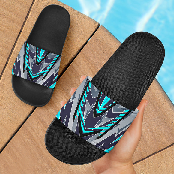 Racing Style Grey & Ocean Blue Slide Sandals