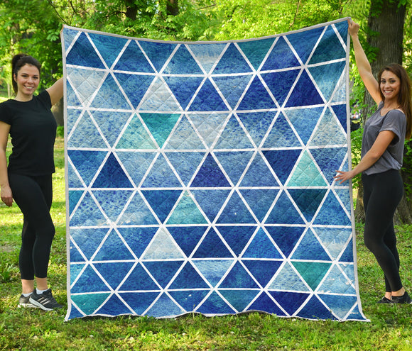 Blue Triangles 2 Premium Quilt