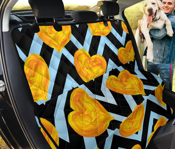 Golden Blue Hearts Lovers Pet Seat Cover
