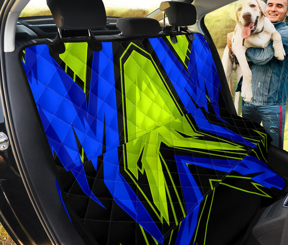 Racing Style Blue & Neon Green Vibes Four Pet Seat Cover