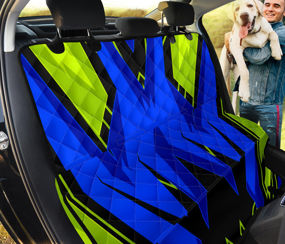 Racing Style Blue & Neon Green Vibes Three Pet Seat Cover