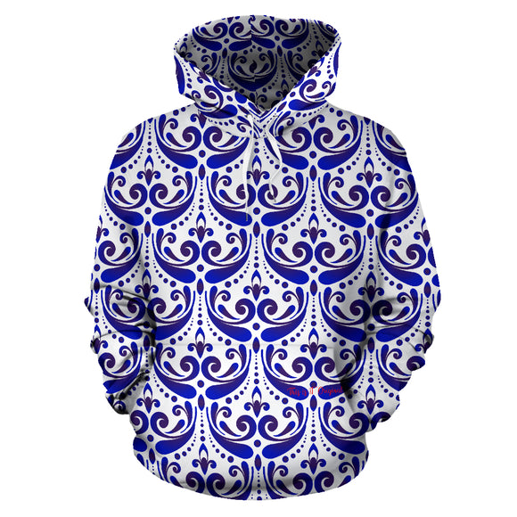 Amazing Traditional White & Blue Ornaments Vibes Four All Over Hoodie