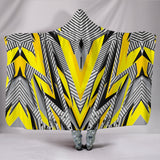 Racing Style Grey & Yellow Stripes Vibes Hooded Blanket