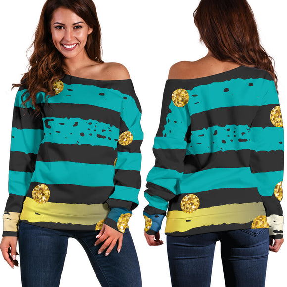 Luxury Neon Strips Women's Off Shoulder Sweater