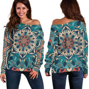 Lovely Boho Dream Women's Off Shoulder Sweater