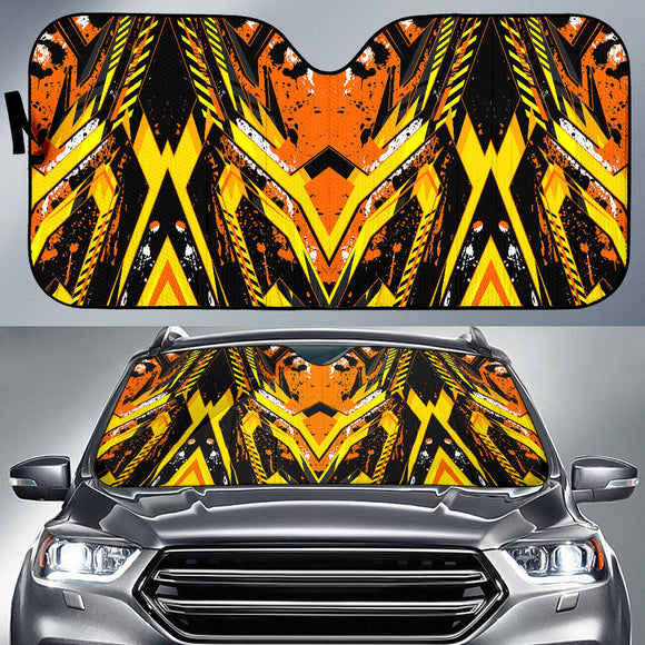 Racing Style Wild Orange & Black Splash Vibes Auto Sun Shades