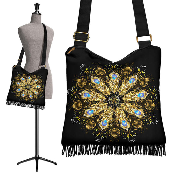 Golden Peacock Blue Mandala Crossbody Boho Handbag