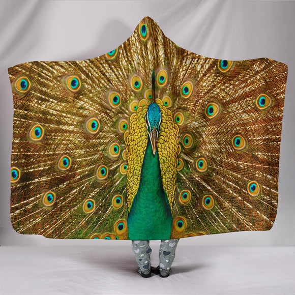 Golden Luxury Peacock Premium Hooded Blanket