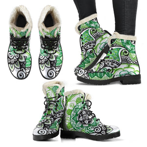 Green Spirit Faux Fur Leather Boots