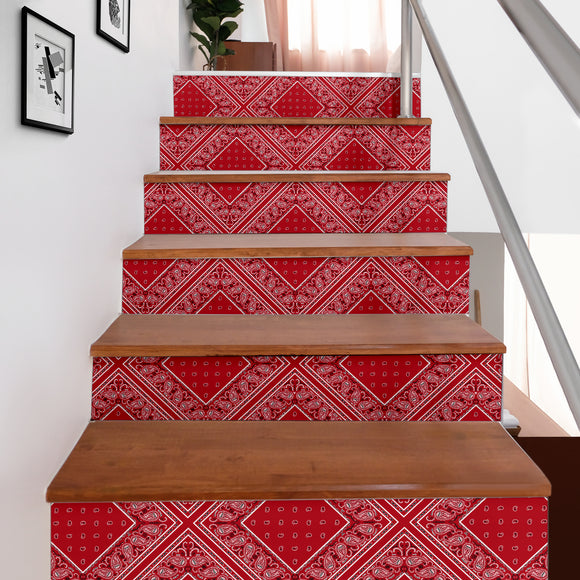 Luxury Classic Red Bandana Style Stair Sticker 6 Steps