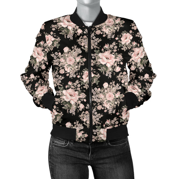 Luxury Peach Flower Women's Bomber Jacket