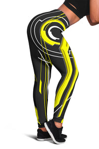 Racing Abstract Art Style Black & Yellow Vibes Women's Leggings