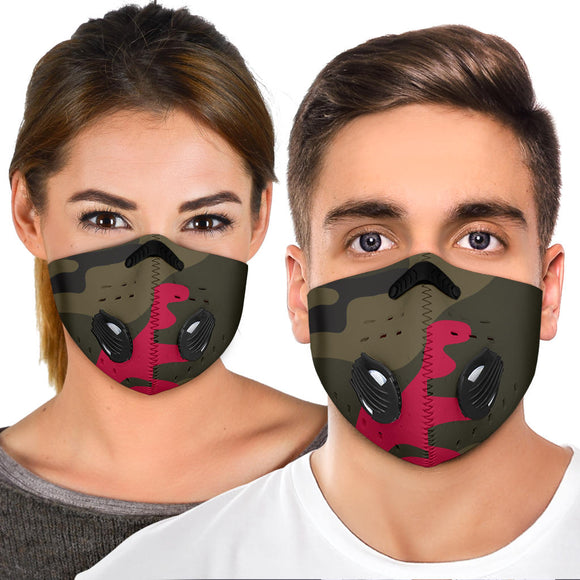 Dark Green & Red Colorful Army - Camouflage Design Premium Protection Face Mask
