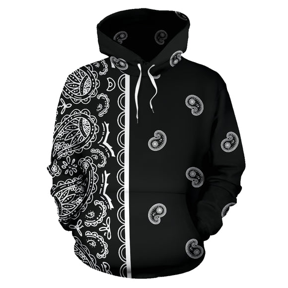 Black and White Asymmetrical Bandana Style All Over Hoodie